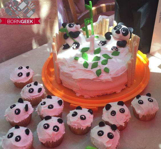 panda cake and cupcakes
